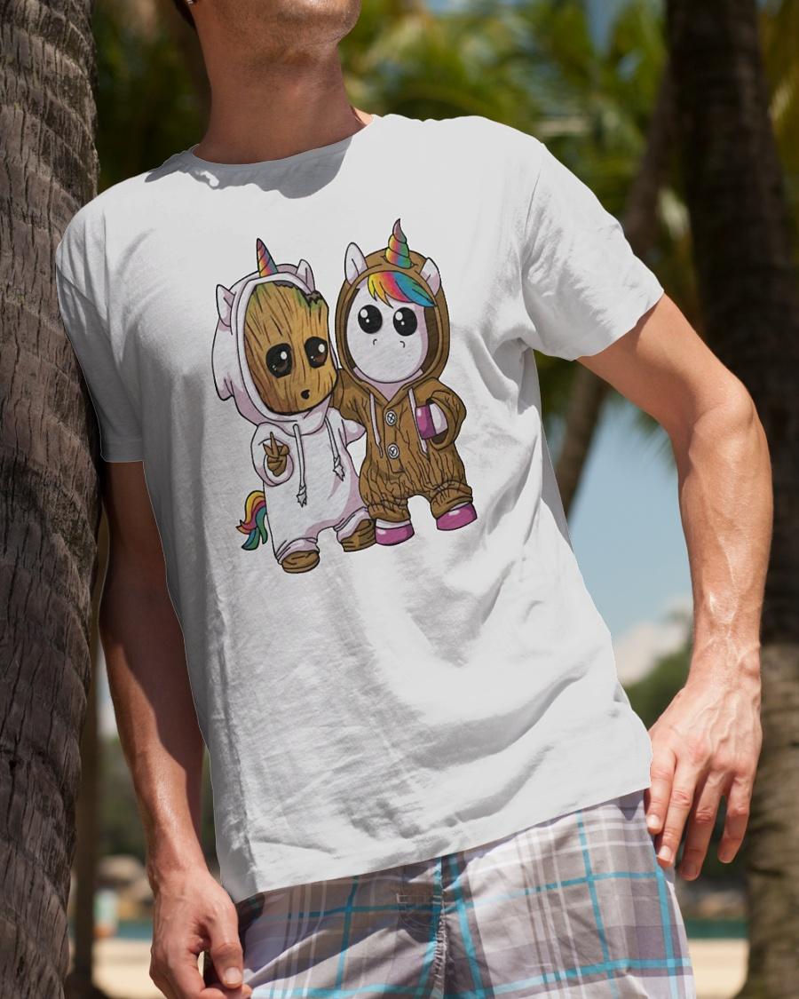 Baby Groot and Unicorn shirt