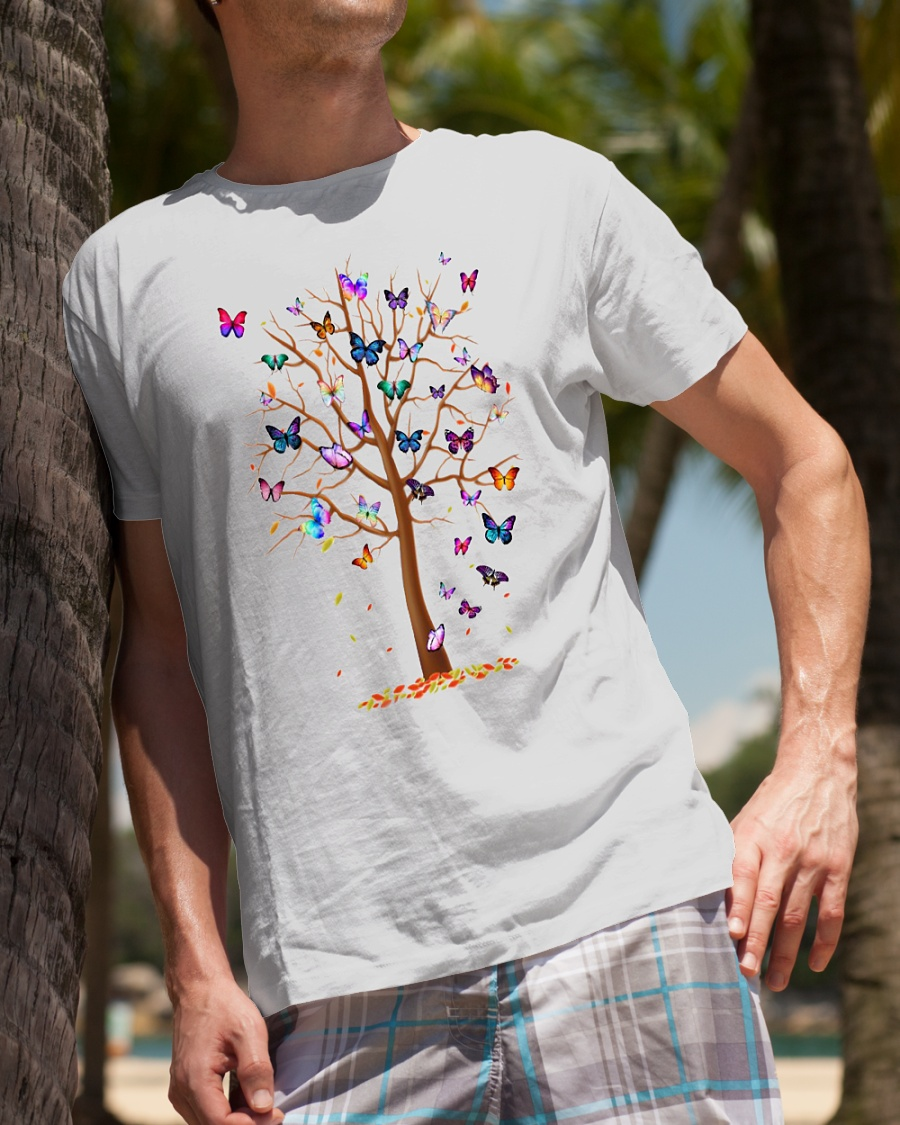 Butterflies as leaves on a tree shirt