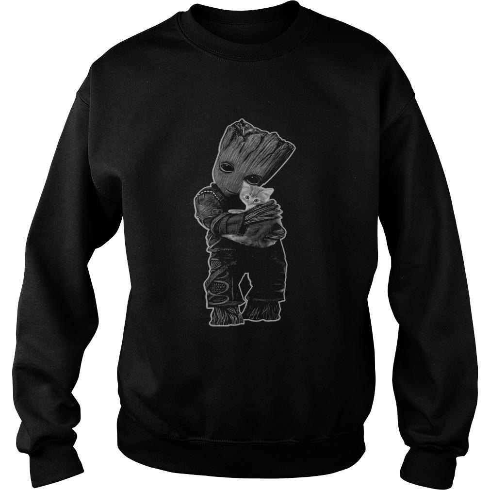 Baby Groot hug Cat  Sweatshirt