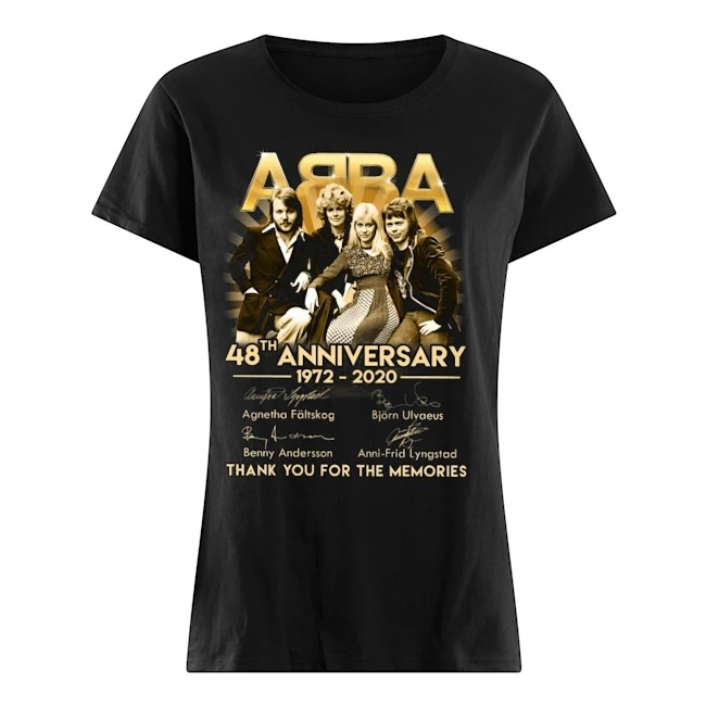 ABBA 48th Anniversary 1972-2020 thank you for the memories Ladies t-shirt