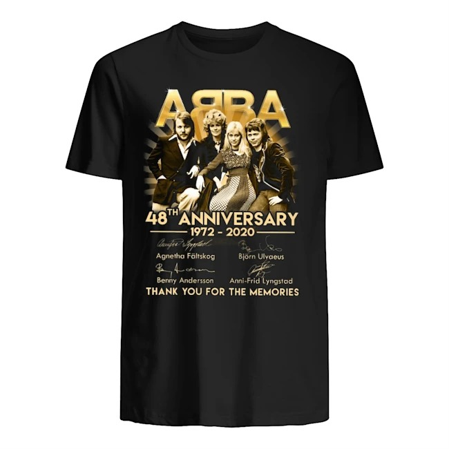 ABBA 48th Anniversary 1972-2020 thank you for the memories Guys t-shirt