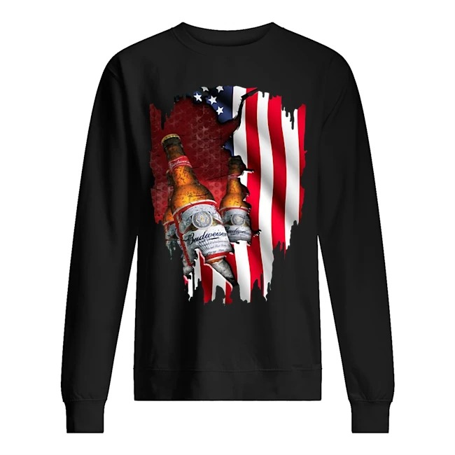Budweiser beer American flag veterans Sweater