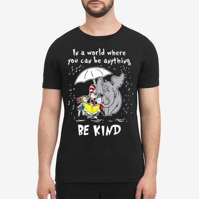 Elephant umbrella and book in a world where you can be anything be kind shirt