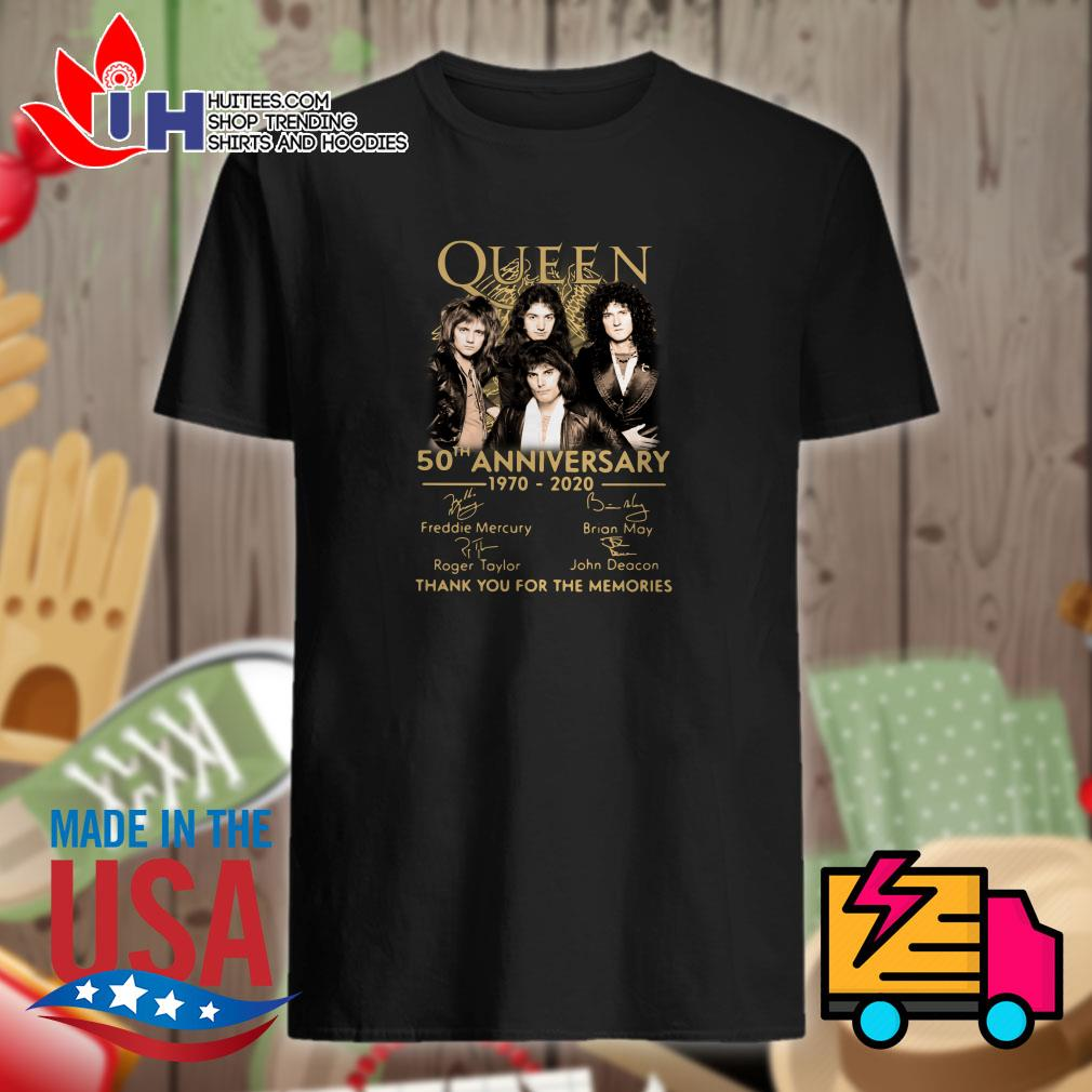Queen 50th anniversary 1970-2020 signature thank you for the memories shirt