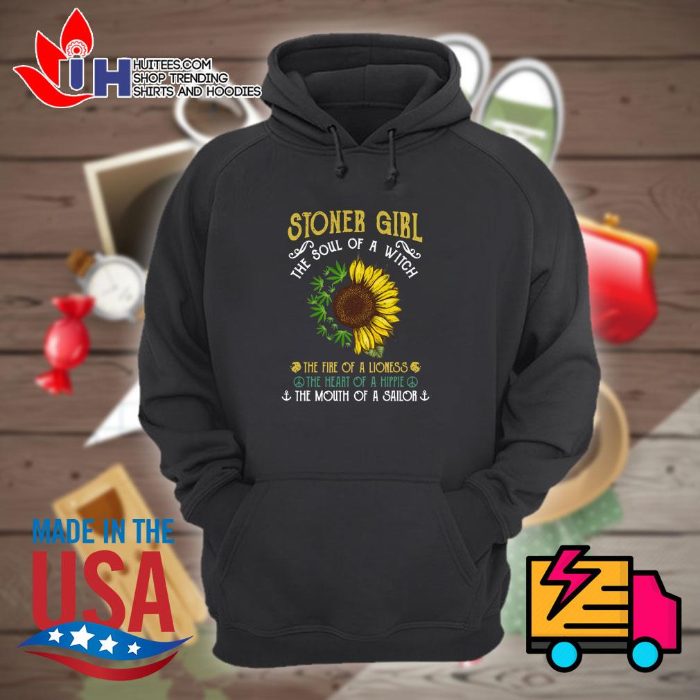 Sunflower and weed stoner girl the soul of a witch Hoodie