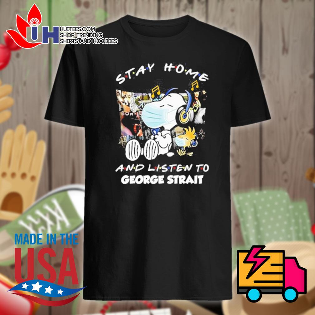 Snoopy face mask stay home and listen to George Strait shirt