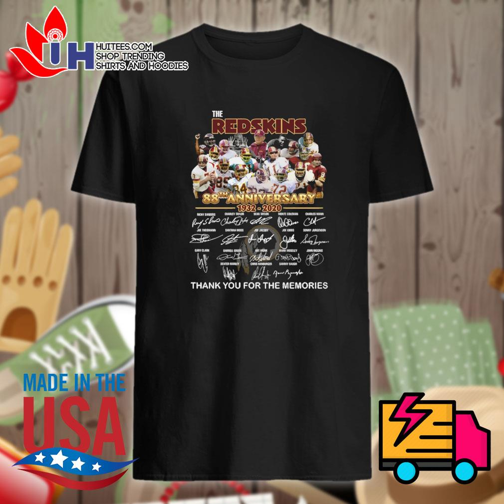 The Redskins 88th anniversary 1932-2020 thank you for the memories shirt