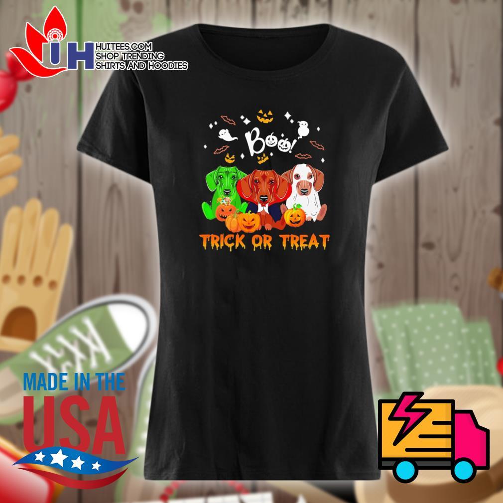 Dachshund Halloween Boo trick or treat s Ladies t-shirt