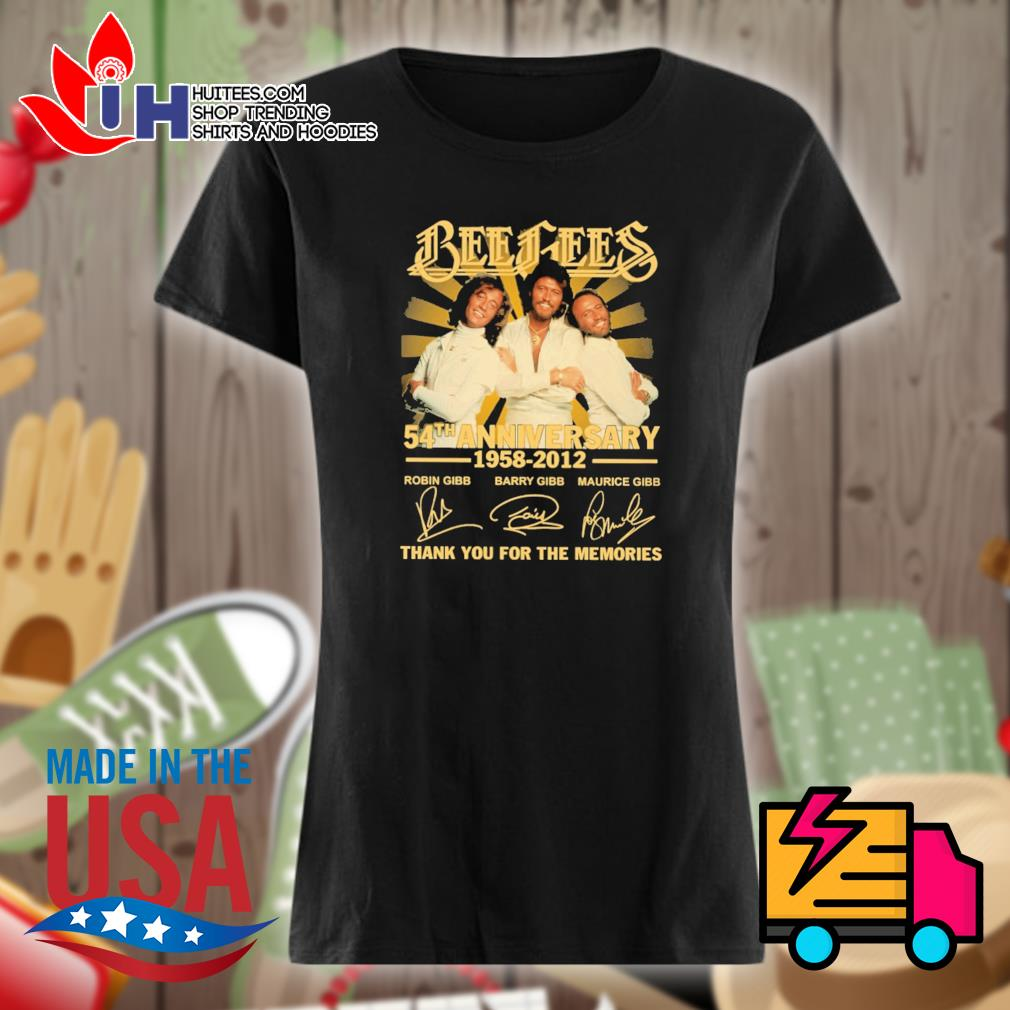 Bee Gees 54th anniversary 1958 2012 signatures thank you for the memories s Ladies t-shirt