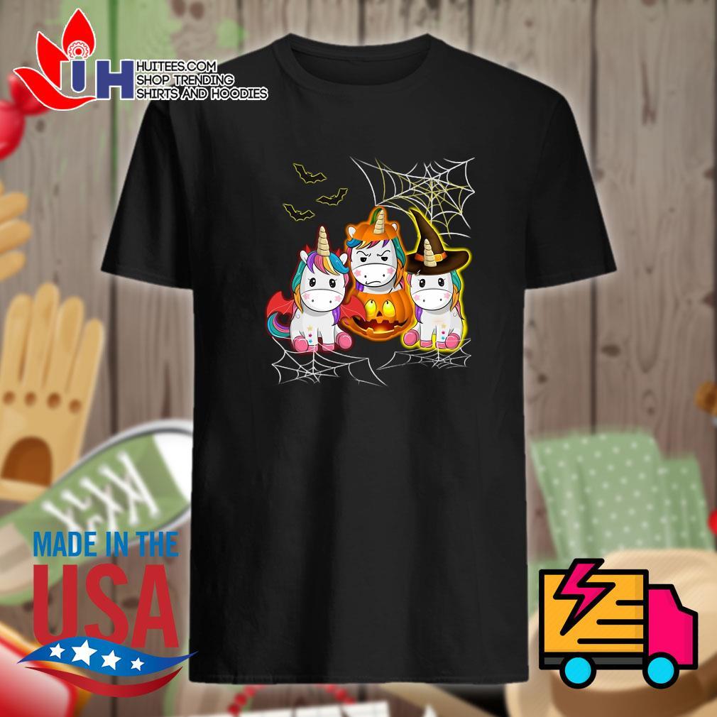 Halloween Unicorn costume pumpkin witch shirt