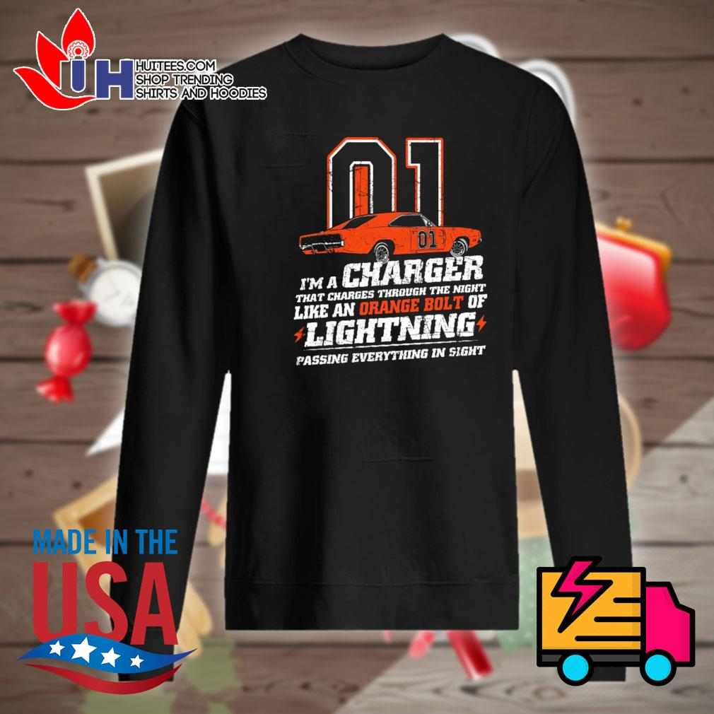 01 I'm a charger that charges through the night like a orange bolt of lightning passing everything in sight s Sweater