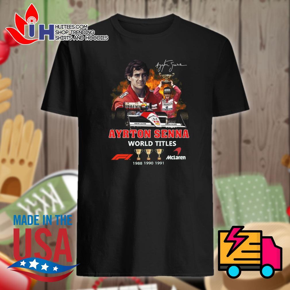 Ayrton Senna world titles Mclaren 1988 1990 1991 signature shirt