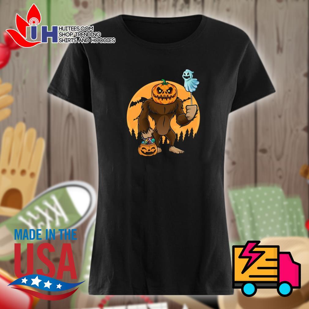 Halloween Bigfoot Pumpkin Head s Ladies t-shirt