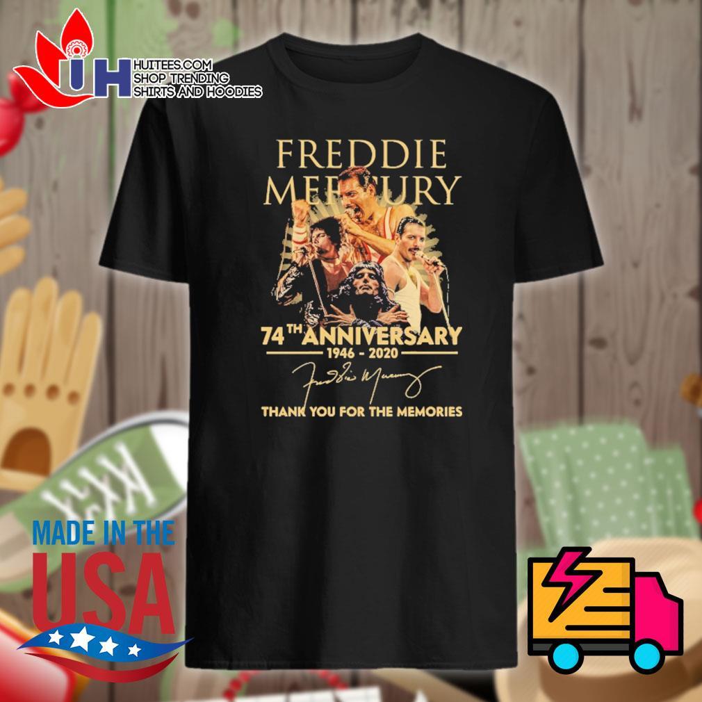 Freddie Mercury 74th anniversary 1946 2020 signature thank you for the memories shirt