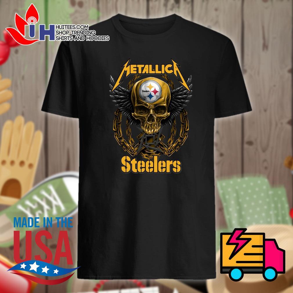 Metallica skull Pittsburgh Steelers shirt