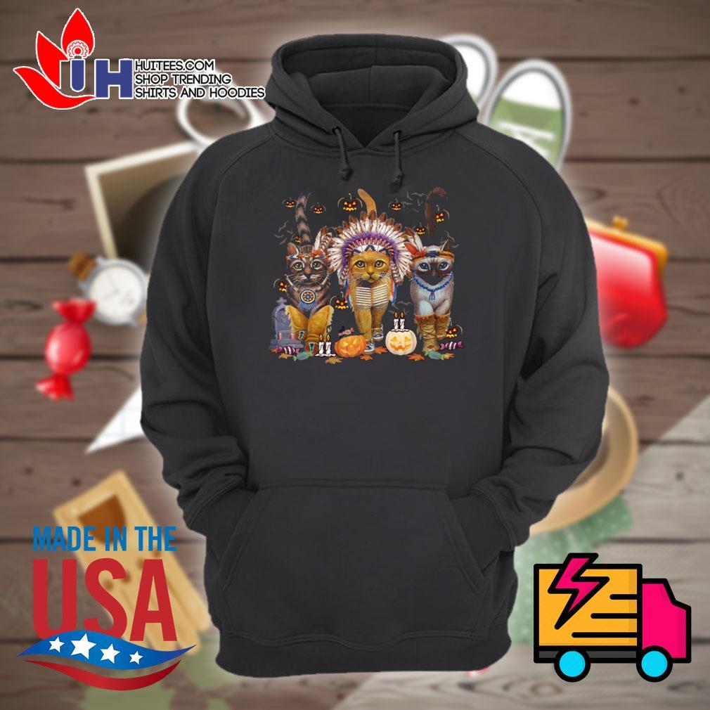 Native American Cats Halloween witch pumpkin s Hoodie
