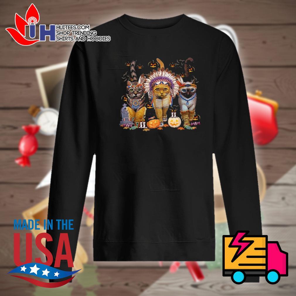 Native American Cats Halloween witch pumpkin s Sweater
