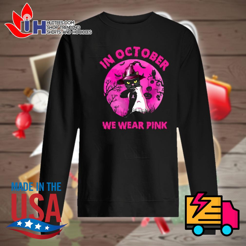 Halloween black cat witch in October we wear pink s Sweater