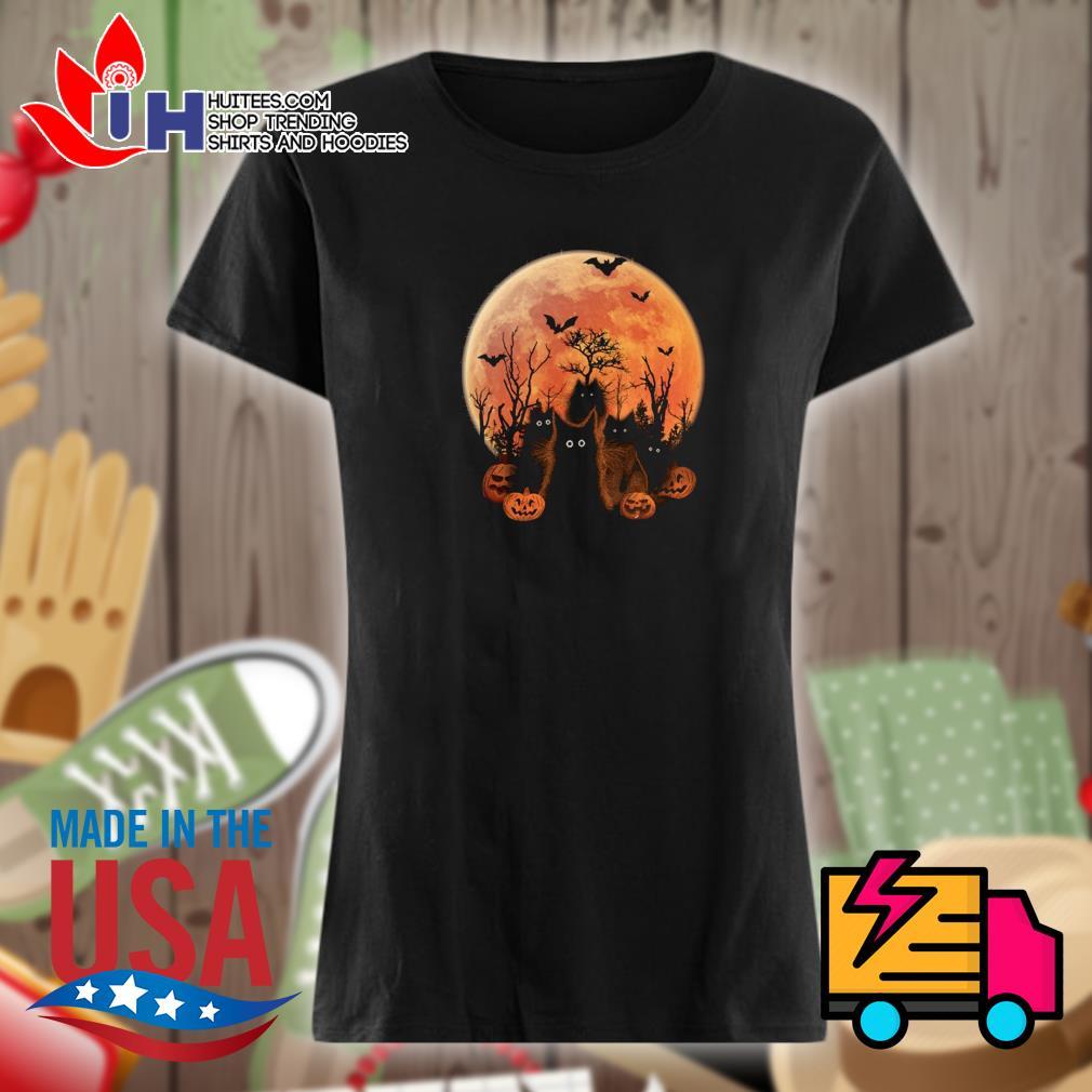 Halloween Black cats on the moon s Ladies t-shirt