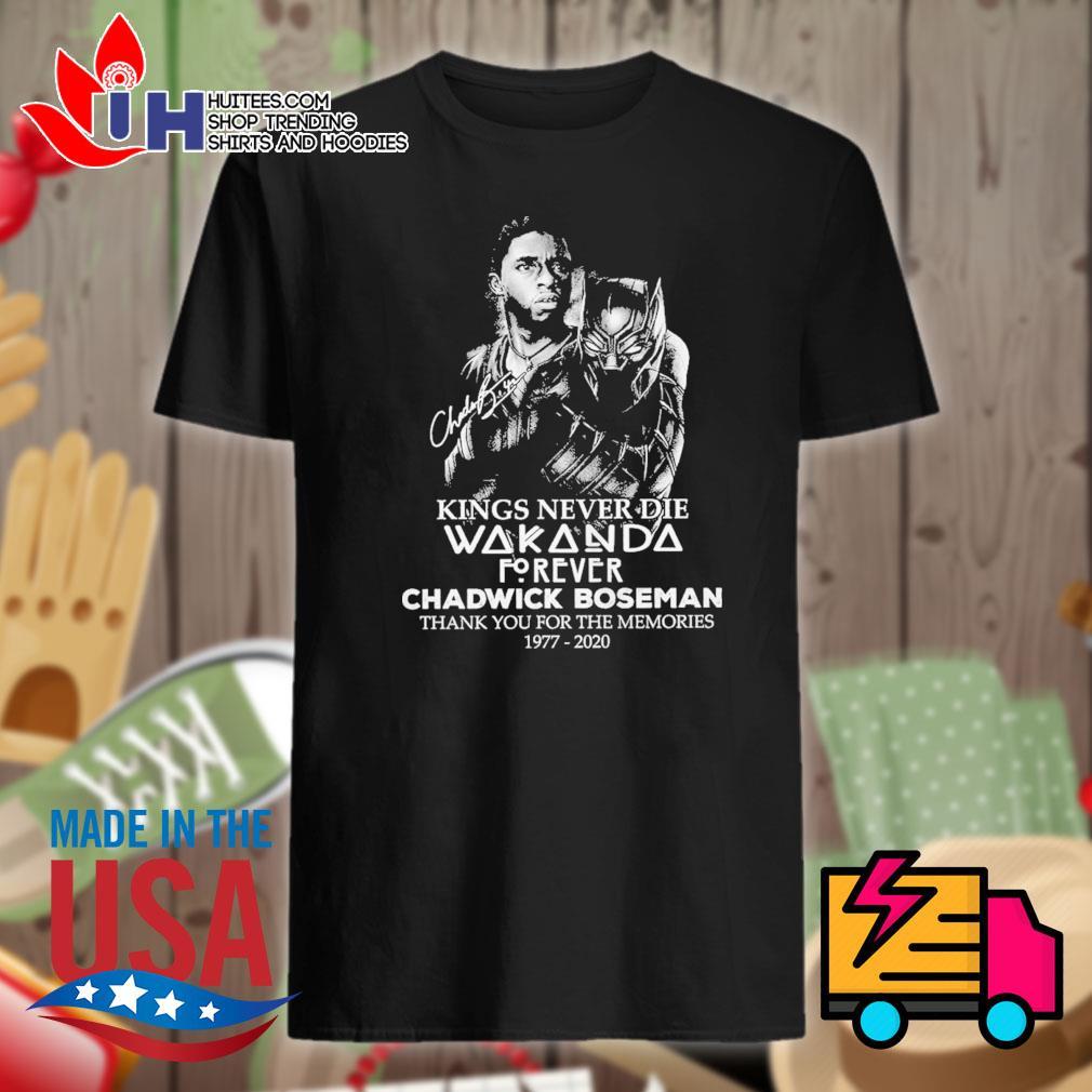 Kings never die Wakanda forever Chadwick Boseman 1977 2020 signature thank you for the memories shirt