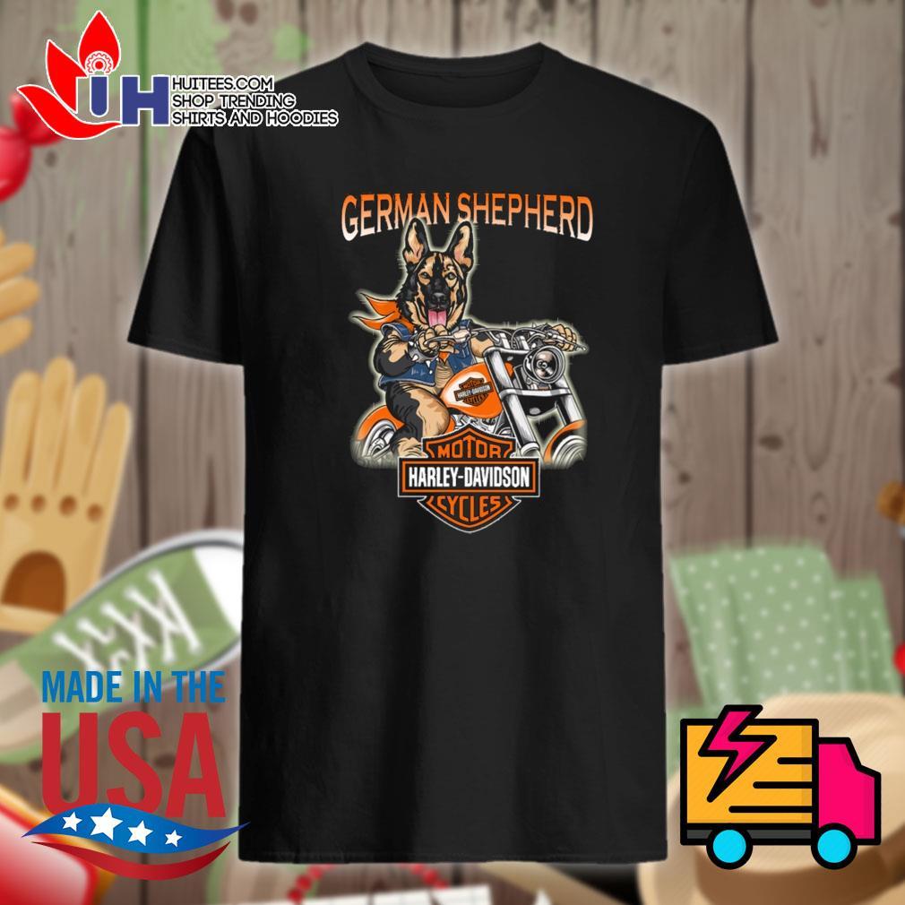 German Shepherd ride Motor Harley Davidson cycles shirt