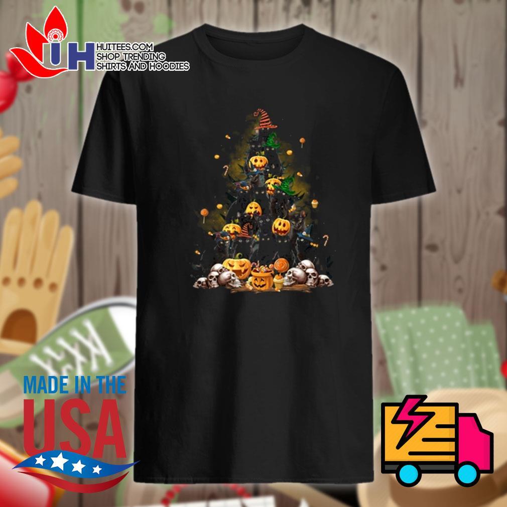 Black cats skull pumpkin tree Halloween shirt