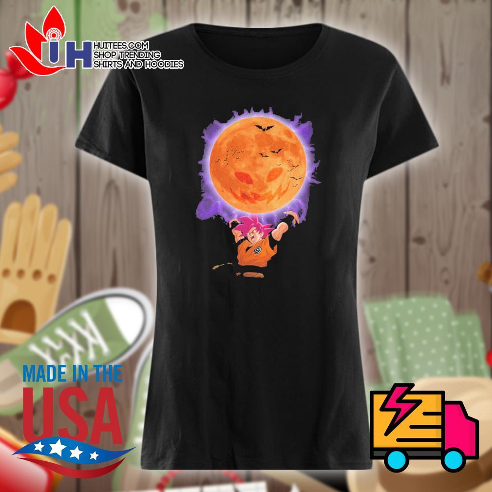 Son Goku moon pumpkin Halloween s Ladies t-shirt