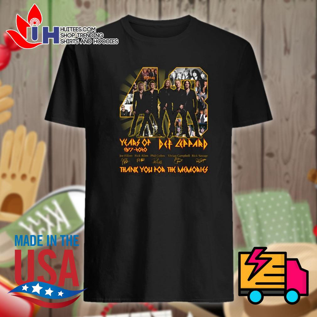 44 years of Def Leppard 1977 2020 signatures thank you for the memories shirt