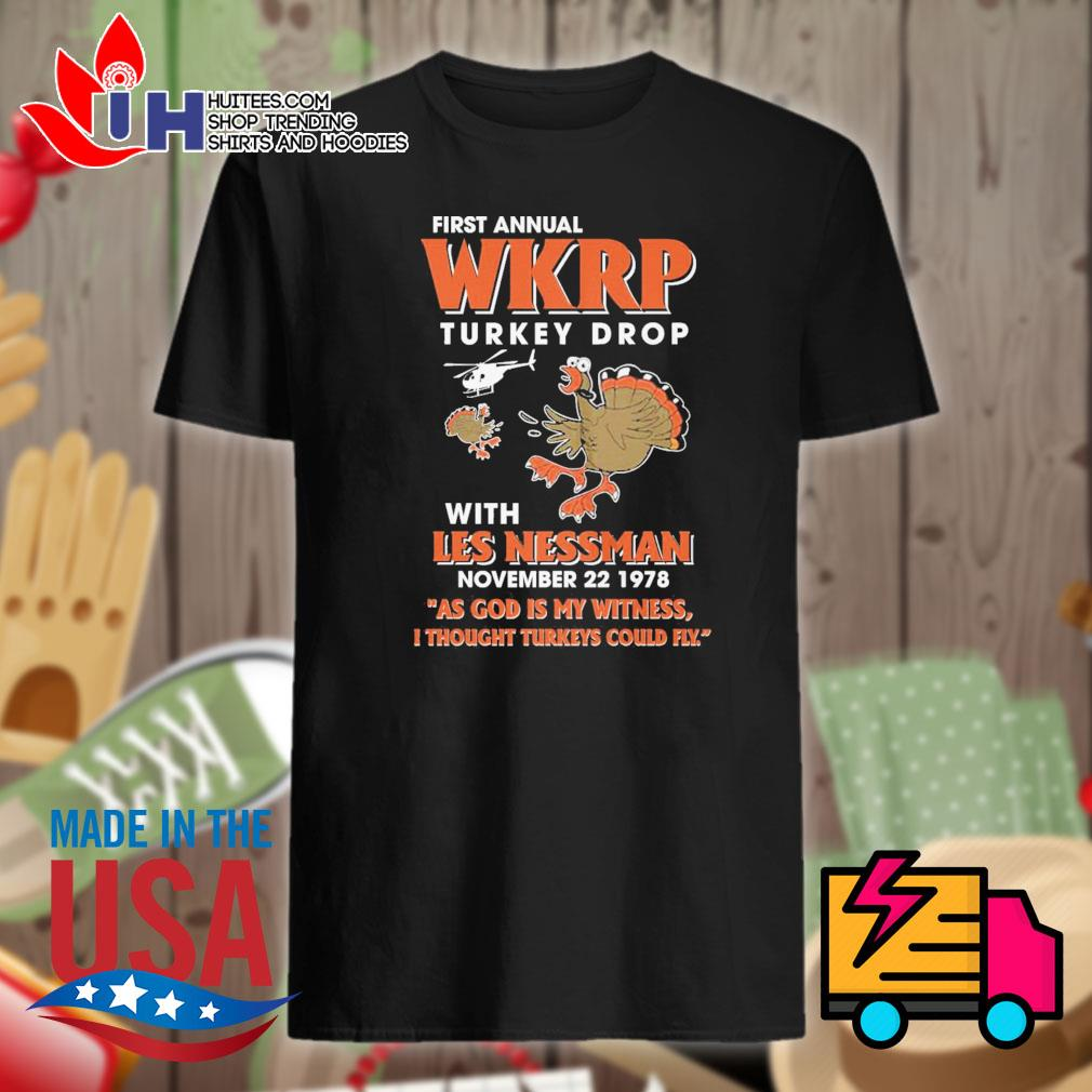 First annual WKRP turkey drop with les nessman November 22 1978 shirt