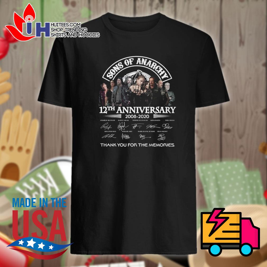Sons of Anarchy 12th anniversary 2008 2020 signatures thank you for the memories official shirt