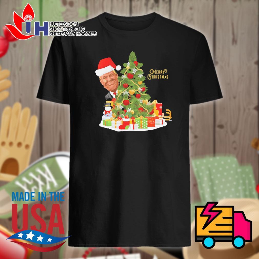 Donald Trump Santa Merry Christmas tree shirt
