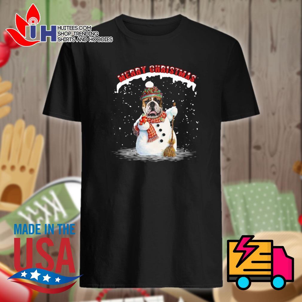 Bulldog snowman Merry Christmas shirt