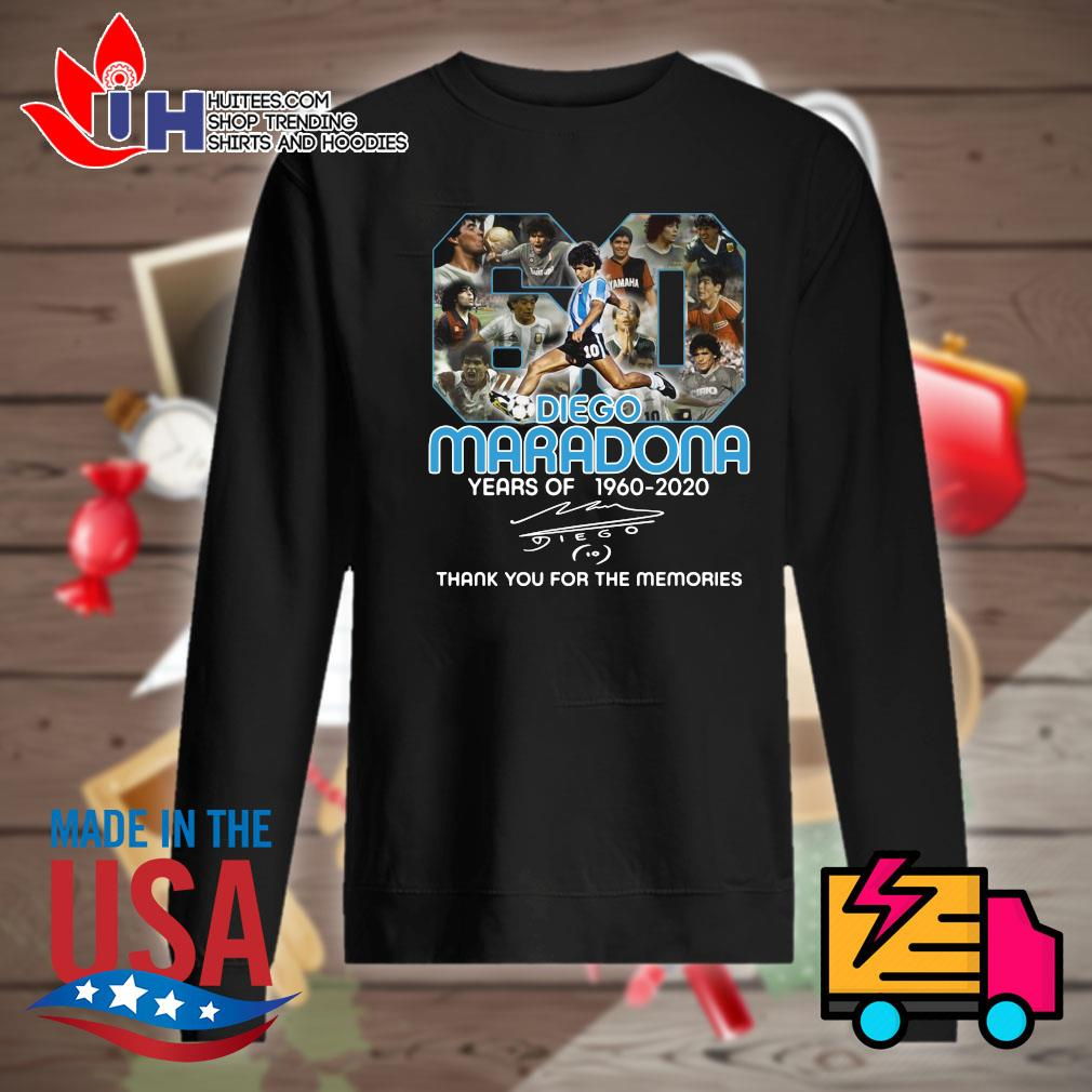 Diego Maradona 60 years of 1960 2020 signature thank you for the memories s Sweater