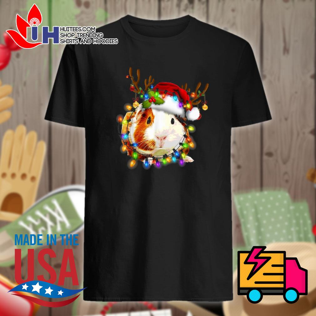 Guinea Pig Santa hat lights Christmas shirt