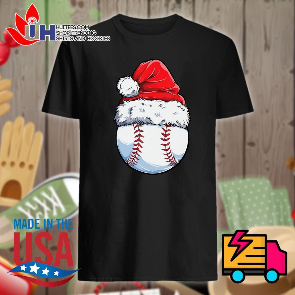 Baseball Santa hat Christmas shirt