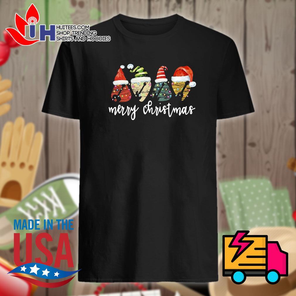 Guitar Santa hat Merry Christmas shirt