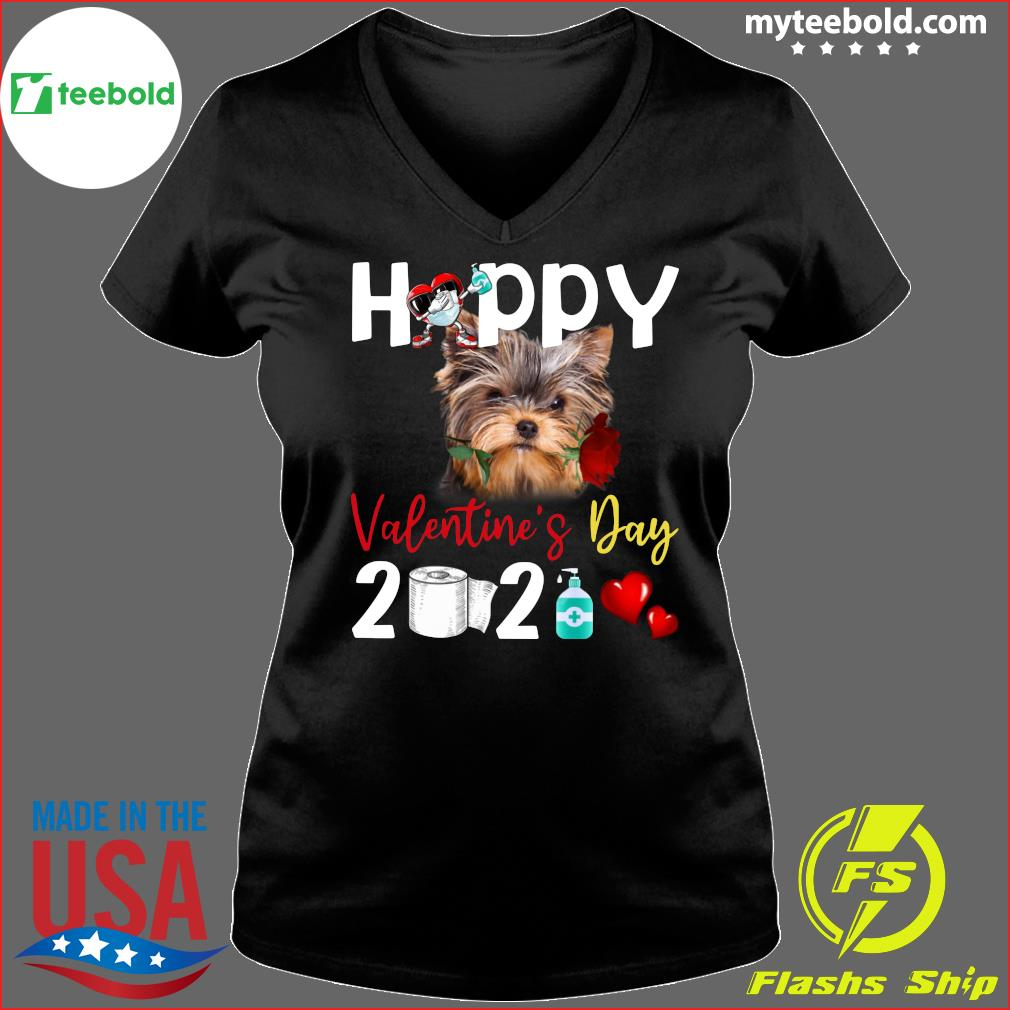 Yorkshire Terrier Happy Valentine's Day With Toilet Paper 2021 Shirt Ladies V-neck