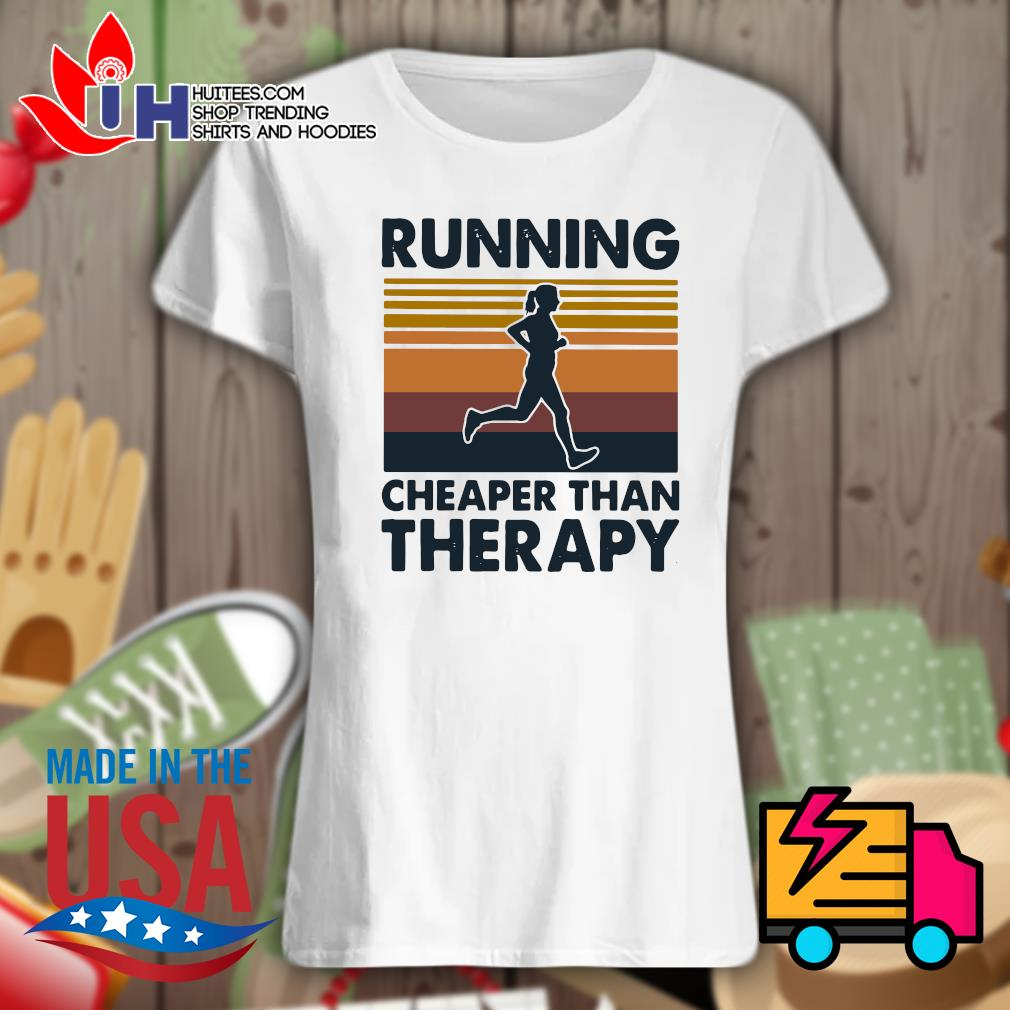 Running cheaper than therapy Vintage s Ladies t-shirt
