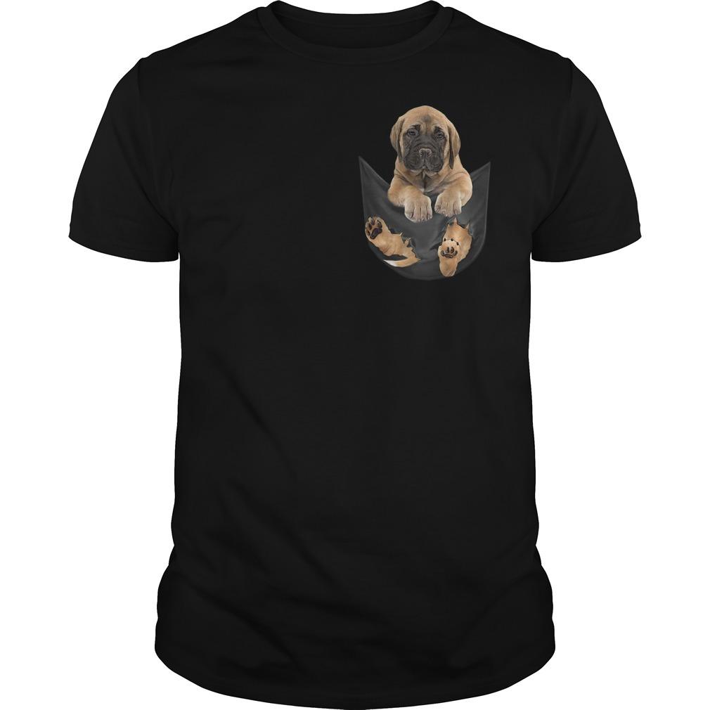 Bullmastiff in fake pocket Guys t-shirt
