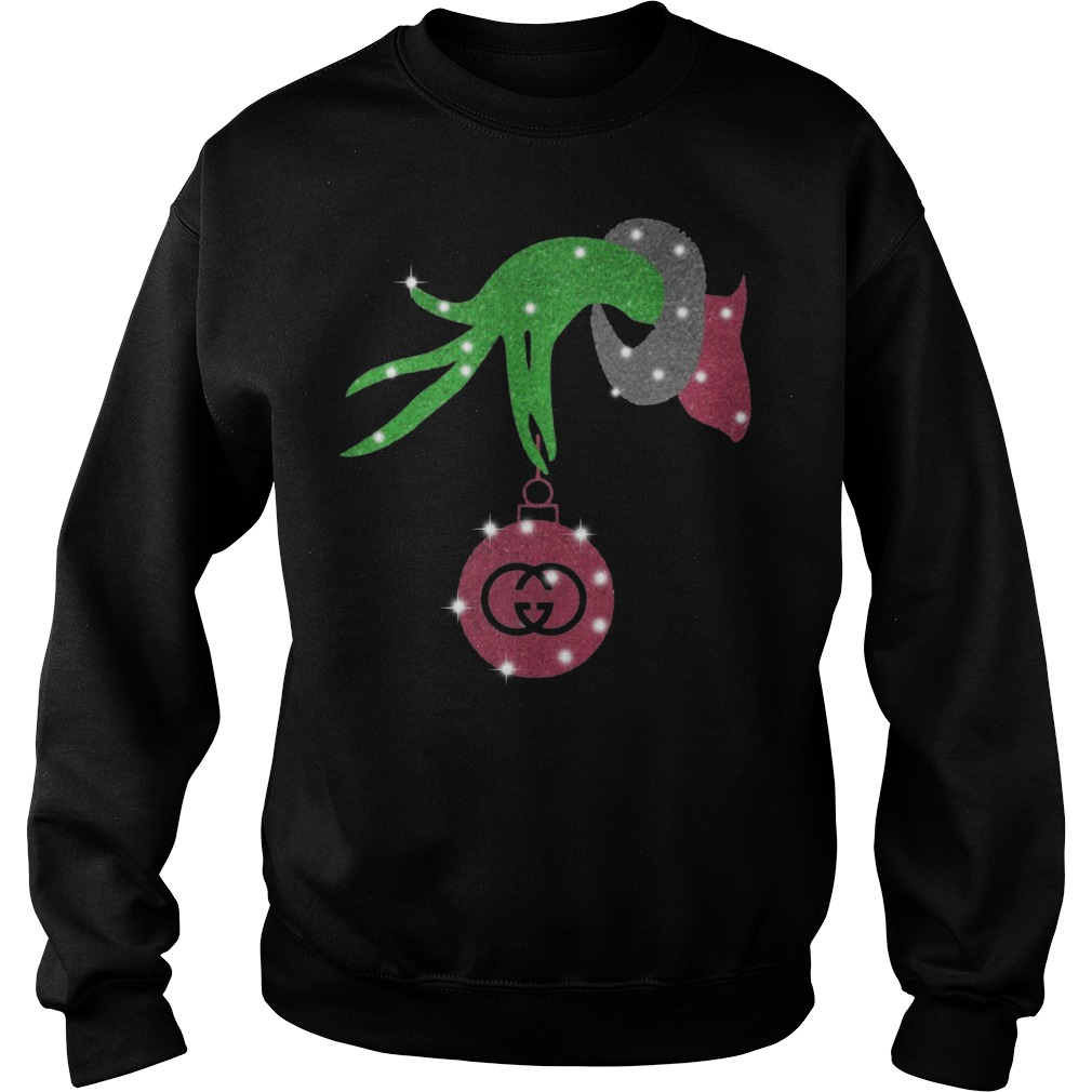 Grinch hand holding logo Gucci Sweater