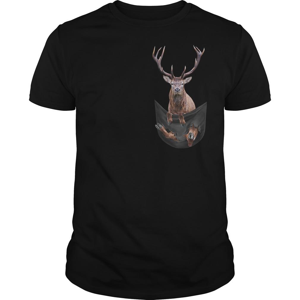 Reindeer in pocket Guys t-shirt