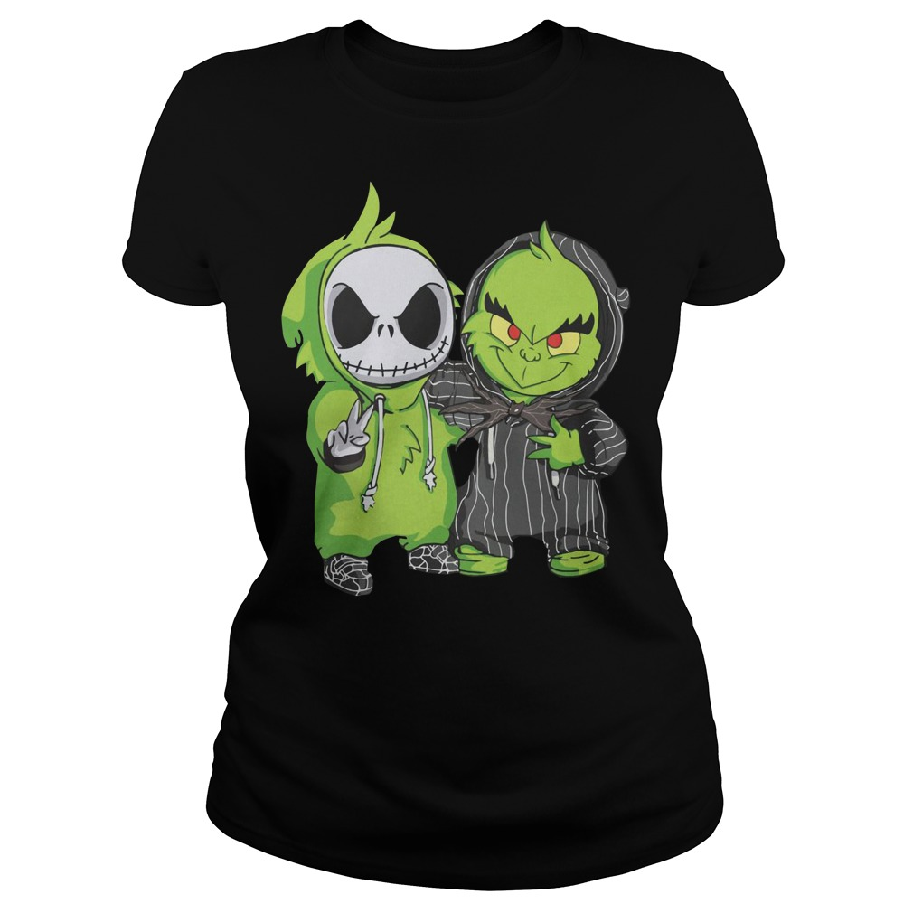 Baby Grinch and Jack Skellington Ladies t-shirt