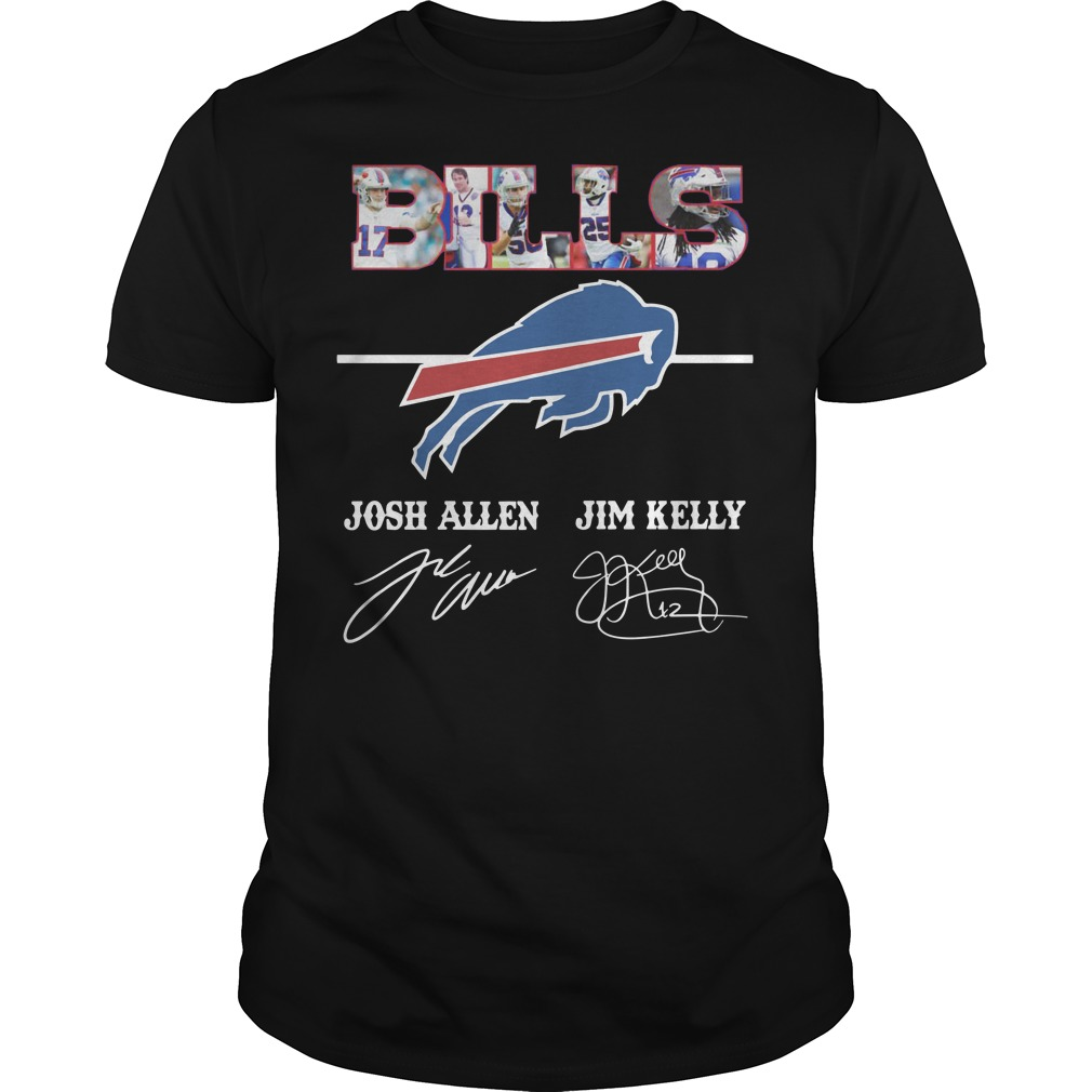 Bills Josh Allen Jim Kelly character signature Guys t-shirt