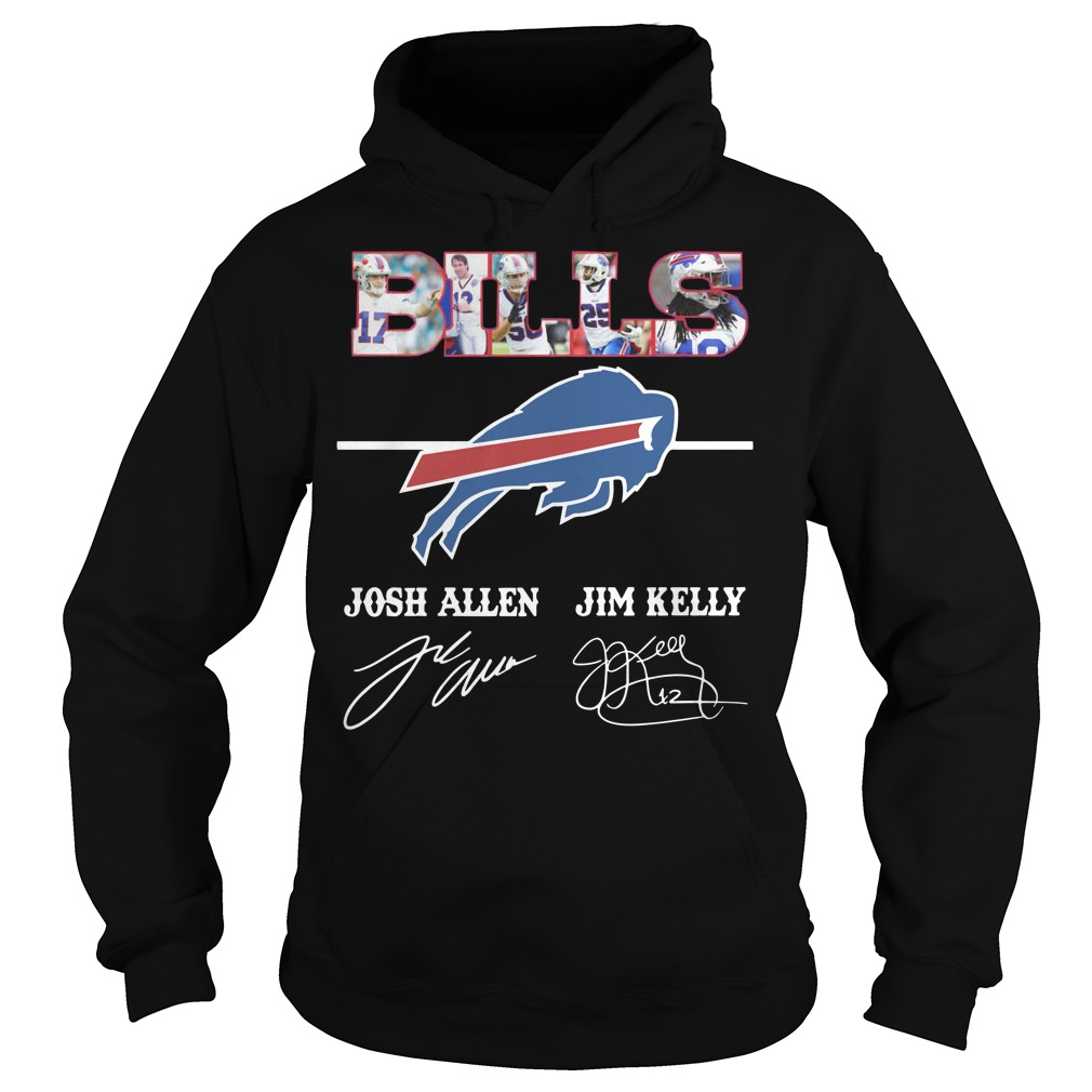 Bills Josh Allen Jim Kelly character signature Hoodie