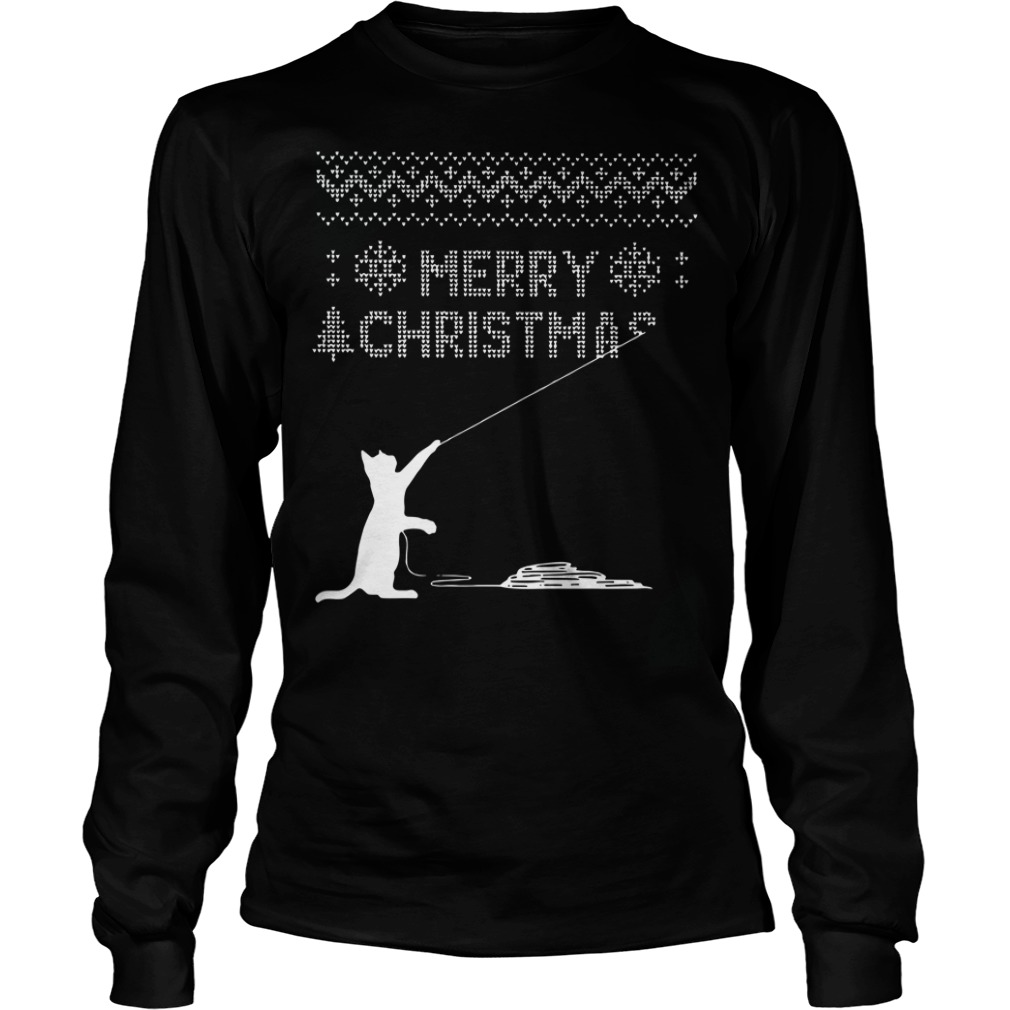 Cat kites fly merry ugly christmas Longsleeve