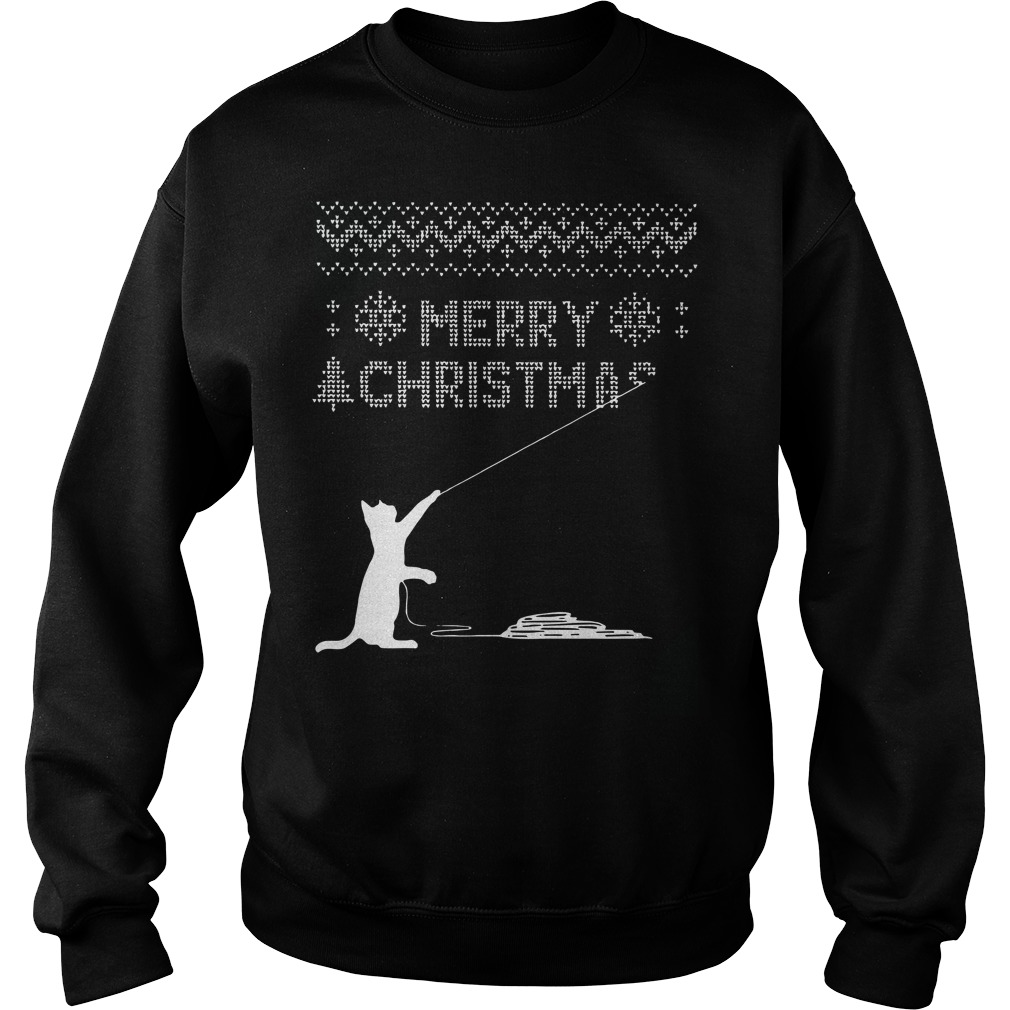 Cat kites fly merry ugly christmas sweater