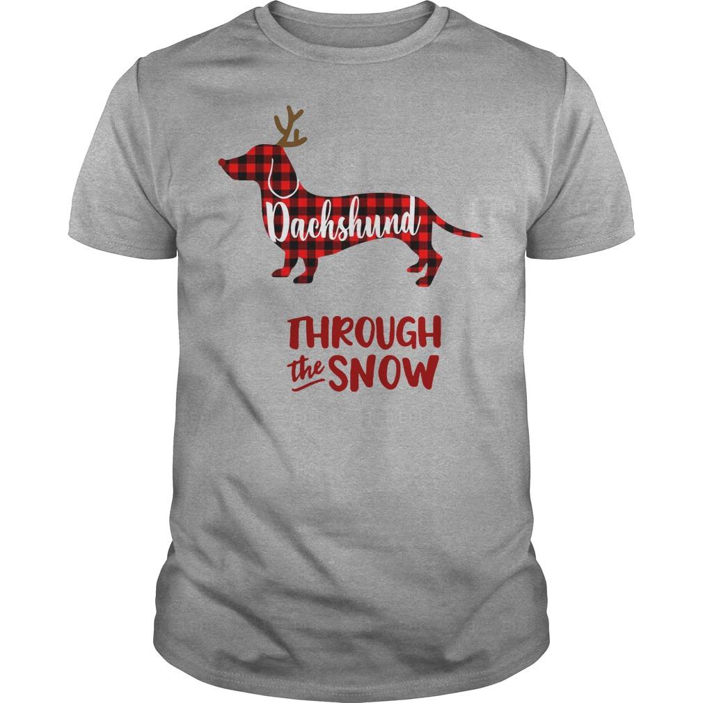 Dachshund Reindeer through the snow Guys t-shirt