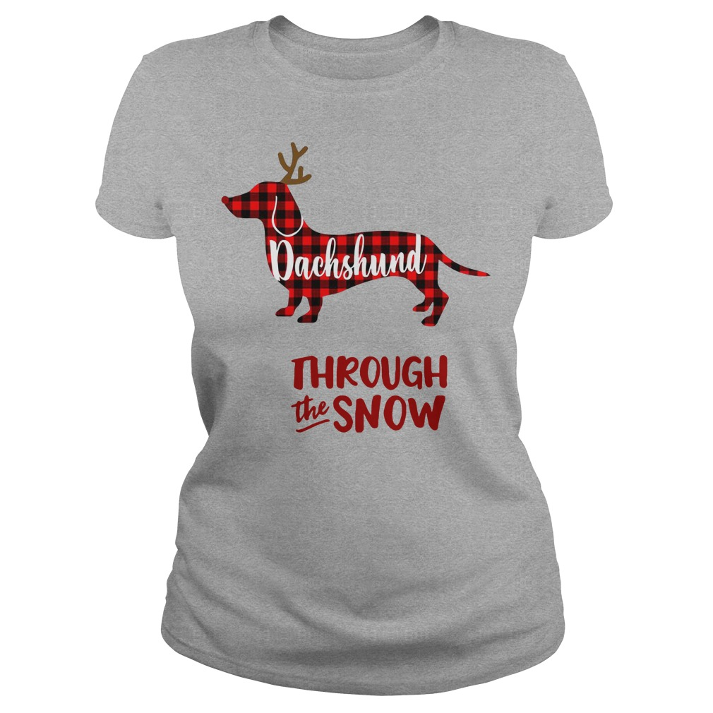 Dachshund Reindeer through the snow Ladies t-shirt