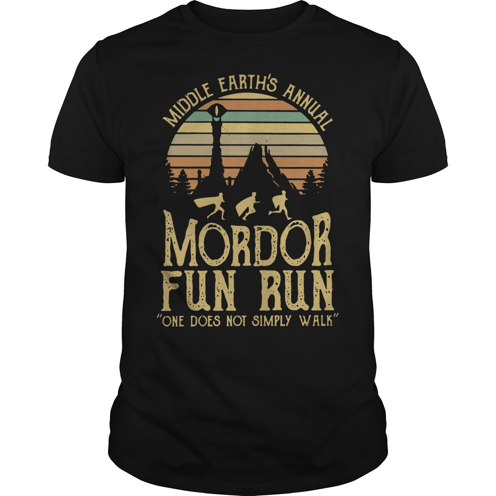 Sunset middle earth's annual mordor fun run one does not simply walk Guys t-shirt