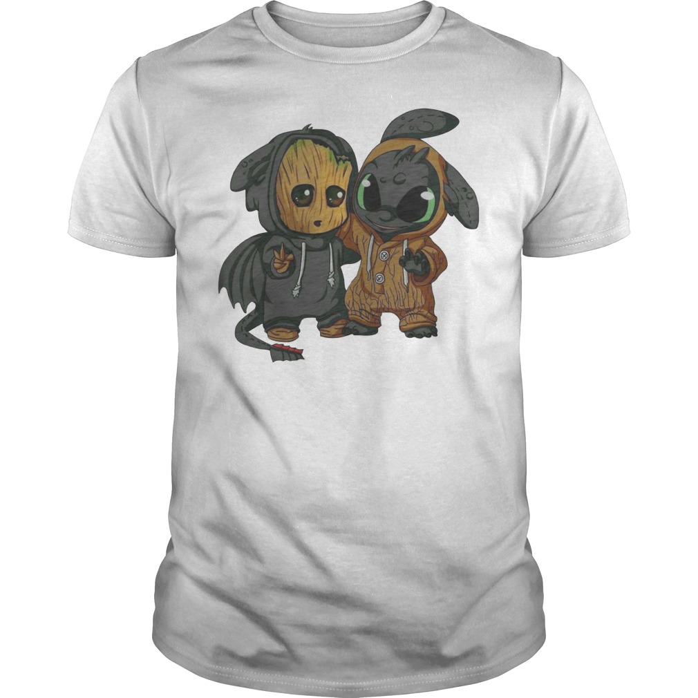 Baby Groot and Night Fury Guys t-shirt